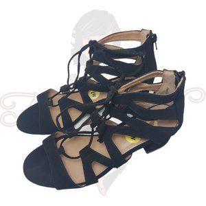 Report Patriot Black Open Toe Lace Up Sandals Sz 9